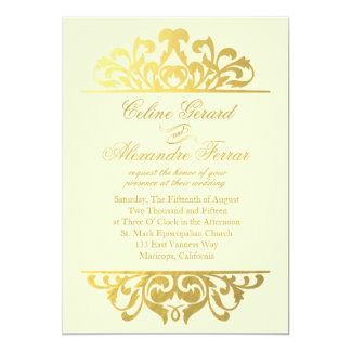 Glam Gold Foil Flourish Wedding | ivory gold 5x7 Paper Invitation Card