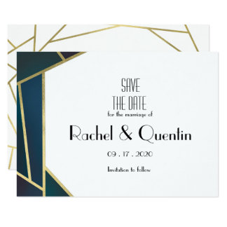 Glam Gold Geometric Art Deco Wedding Save The Date Card