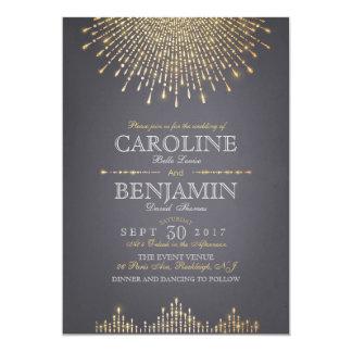 Glam gold glitter art deco vintage wedding 13 cm x 18 cm invitation card