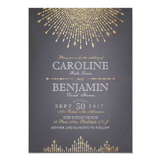 Glam gold glitter art deco vintage wedding card