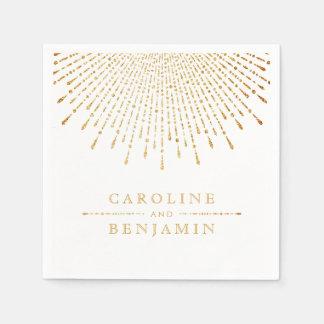 Glam gold glitter deco vintage wedding monogram disposable serviette
