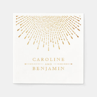 Glam gold glitter deco vintage wedding monogram paper napkin