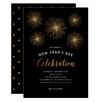 Glam Gold Glitter Fireworks New Year's Eve Party Card