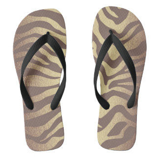 Glam Gold Ivory Brown Black Zebra Skin Flip Flops