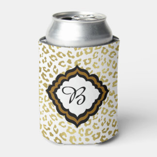 Glam Gold Leopard Print Monogrammed Can Cooler
