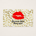 Glam Gold Leopard Print With Red Lips Professional Business Card