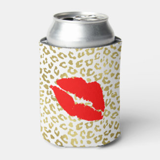 Glam Gold Leopard With Red Lips Can Cooler