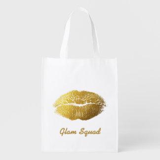 Glam Gold Lips Reusable Grocery Bag