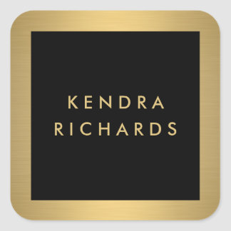 Glam Gold Name Logo Stickers Square Sticker