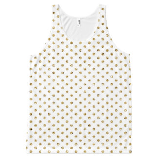 Glam Gold Polka Dot Patterned All-Over Print Tank Top
