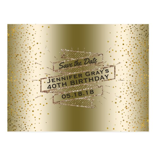 Glam Gold Save the Date Elegant Birthday Party