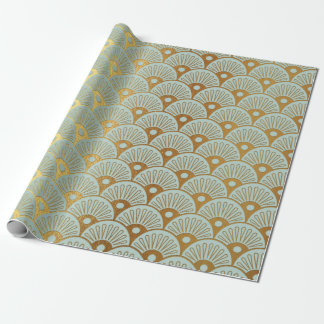 Glam Gold Seashells Mint Green Nautical Yacht Club Wrapping Paper