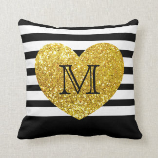 Glam/Gold Sequins Heart/Personalized Striped Throw Pillow