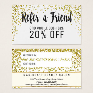 Glam Gold Speckled Glitter Referral Card