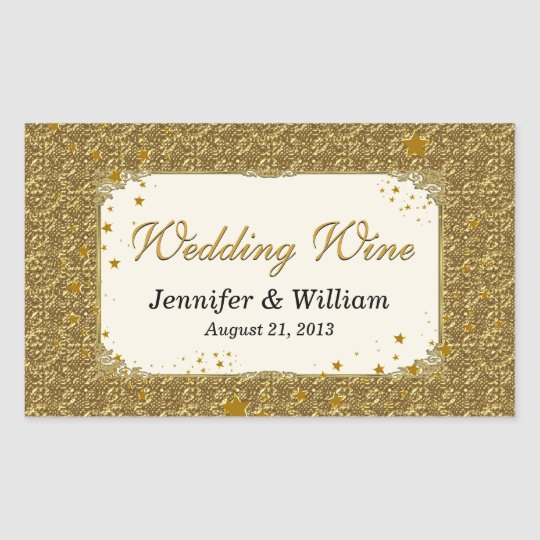 Glam Gold Tone Wedding Wine Bottle Label
