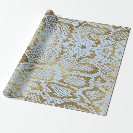 Glam Golden Blue Python Snake Skin Vip Wrapping