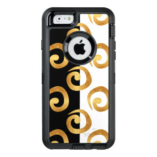 Glam Golden Curls on Black and White OtterBox iPhone 6/6s Case