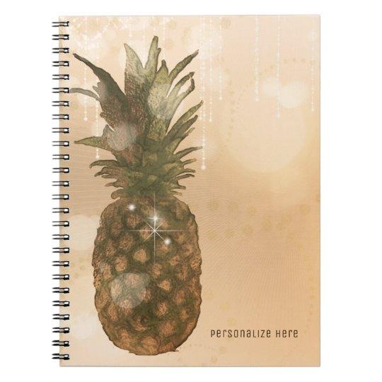 Glam Golden Pineapple Elegant Tropical Custom Notebooks