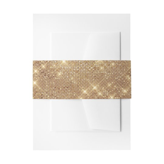 Glam Golden Sparkly Glittery French Tulle Wedding Invitation