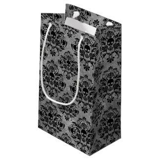 Glam Goth Mini Skull Damask Pattern Black Gray Small Gift Bag