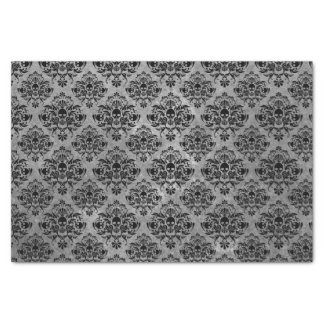 Glam Goth Mini Skull Damask Pattern Black Gray Tissue Paper