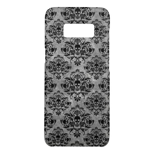 Glam Goth Mini Skull Damask Pattern Black Grey