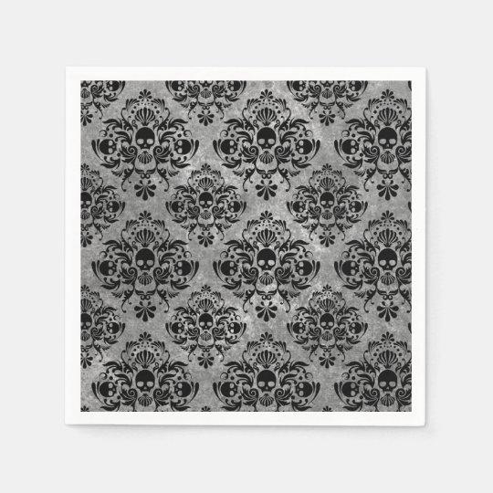 Glam Goth Mini Skull Damask Pattern Black Grey