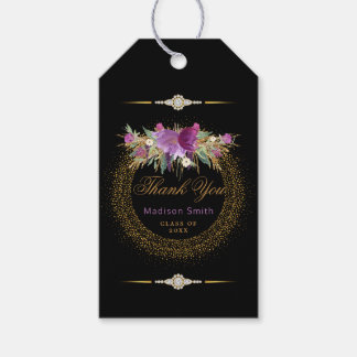 Glam Graduation Thank You Glitter Flowers Gift Tags
