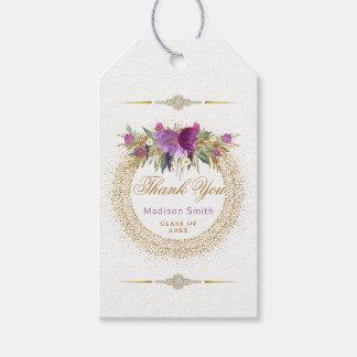 Glam Graduation Thank You Purple Glitter Flowers Gift Tags