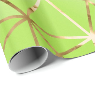 Glam Green Golden Stripes Diamond Wrapping Paper