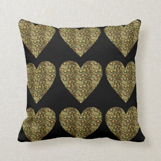 Glam Hearts Bronze Square Throw Pillow