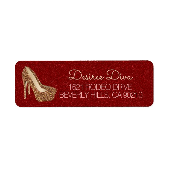 Glam High Heel Shoes | Red Gold Glitter Diva Return Address Label
