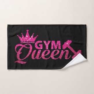 Glam Hot Pink Faux Glitter Gym Queen Hand Towel