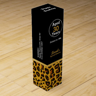 Glam Jaguar Print Custom Birthday Wine Box