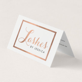 Glam Lashes Script Text Rose Gold Aftercare Business Card