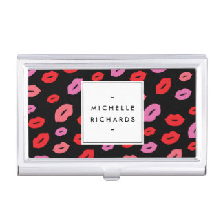 Glam Lip Print Makeup Artist Beauty Pink/Red/Black Business Card Holder