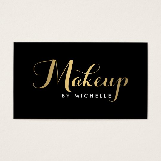 Glam Makeup Script Text Gold/Black Business Card