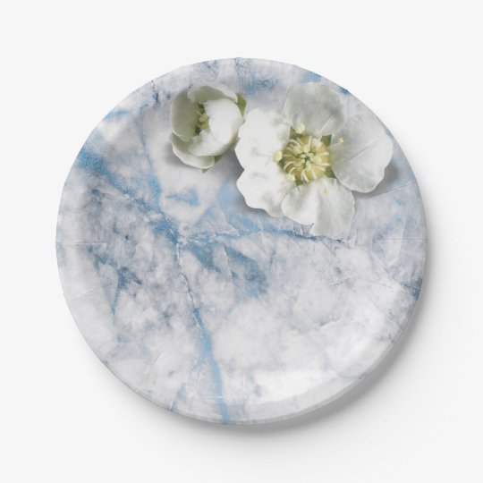 Glam Marble Sapphire Blue White Jasmine Glitter Paper