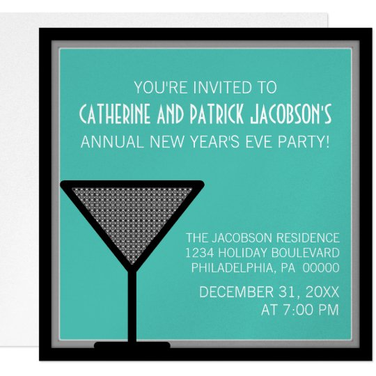 Glam Martini New Year's Invite, Teal Card