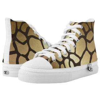 Glam Modern Black Gold Giraffe Skin High Tops