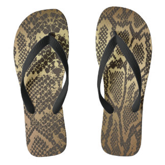 Glam Modern Black Gold Python Anaconda Flip Flops