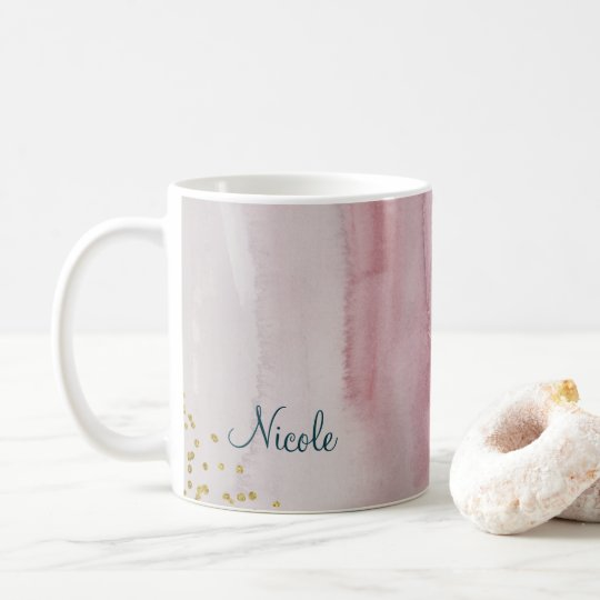 Glam Modern Blush Pink Blue Gold Personalised Coffee
