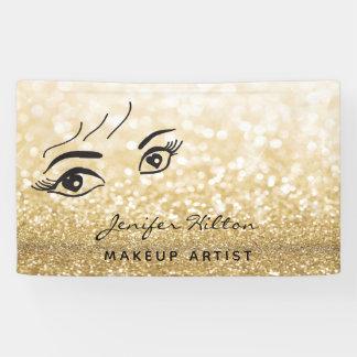 Glam modern chic gold glittery eyelashes & eyebrow banner