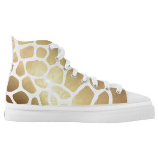 Glam Modern White Gold Giraffe Skin High Tops
