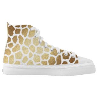 Glam Modern White Gold Giraffe Skin Printed Shoes