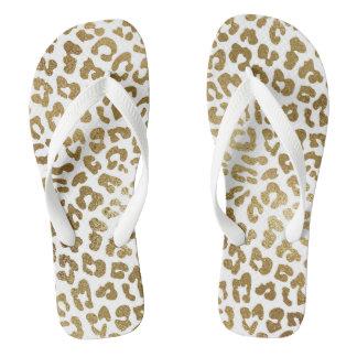 Glam Modern White Gold Leopard Skin Flip Flops