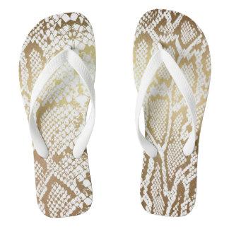 Glam Modern White Gold Python Anaconda Flip Flops
