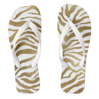 Glam Modern White Gold Tiger Zebra Skin Flip Flops
