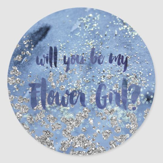 Glam Navy Blue Flower Girl Question Classic Round