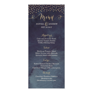 Glam night faux gold calligraphy wedding menu card